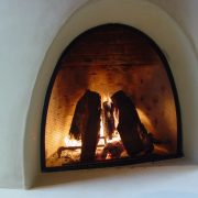 Kiva fireplace, gathering place