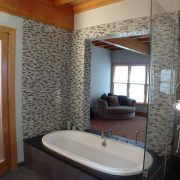 Master Bath spa with sliding door open for views