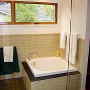 Deep soaking tub completes the Mst Bath ensemble