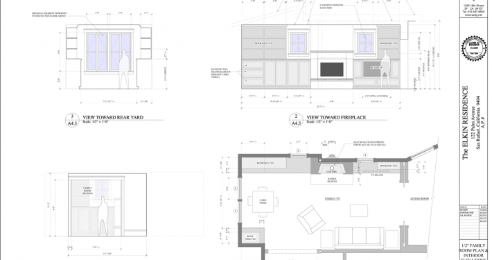 family room plan and interior elevations