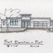 front elevation with flat roof