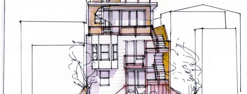 Rear elevation sketch - San Francisco (by colleague Jacki Yahn)