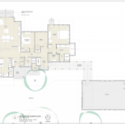 The final floor plan. Note the connection between house & garage/studio.