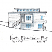 north elevation with flat roof