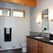 Master Bath vanity, beamed ceiling