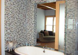 Master Bath spa with sliding door partial open