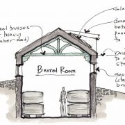 wine country barrel room cross section